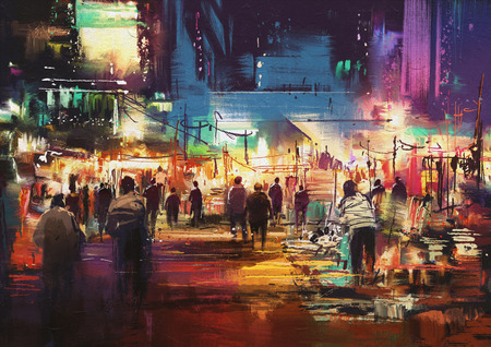 painting of shopping street city with colorful nightlife Banco de Imagens