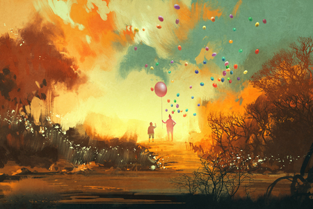 jongen en goochelaar bedrijf ballon standng op een pad van fantasy land, illustratie