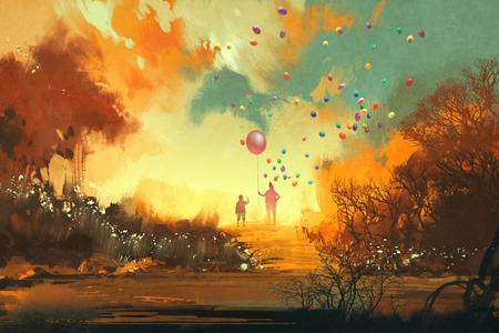 mago: niño y el mago que sostiene el globo standng en un camino de tierra de la fantasía, la ilustración Foto de archivo