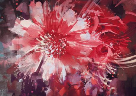 Schönen Herbst Blumen, alte Malstil Standard-Bild - 55394275