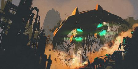 sci-fi scène die man het herstel van het ruimteschip, digitaal schilderen