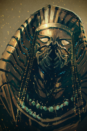 Pharaoh of Egypt,sci-fi concept,illustration painting 版權商用圖片
