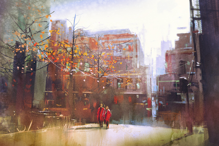 couple in red walking on street of city,digital painting Stock Photo