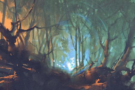 神秘的な光、イラスト絵と暗い森