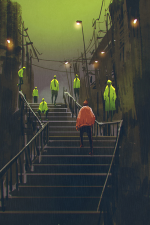 encounter: encounter between red man and crowd of green men,illustration painting Stock Photo