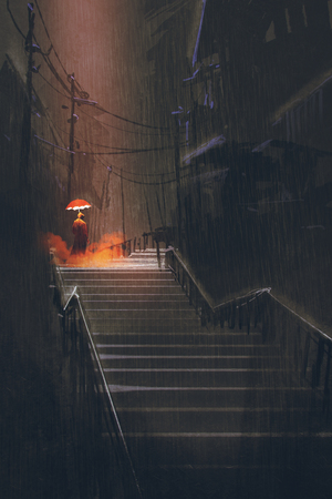man met verlichting paraplu staande op de trap in de nacht regen, illustration painting