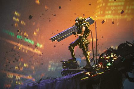 銃、絵画の図で黄色のスーツで未来の兵士
