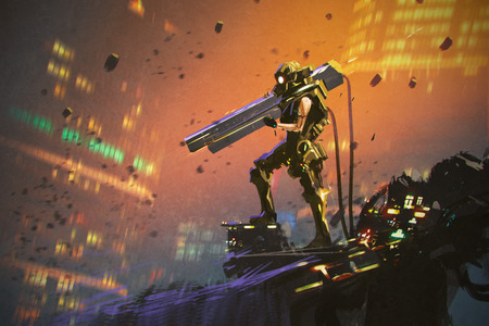 soldado futurista en el juego amarillo con el arma, pintura ilustración Foto de archivo