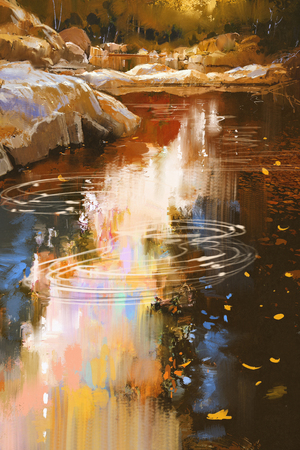 rocks water: river lines with stones in autumn forest,illustration painting