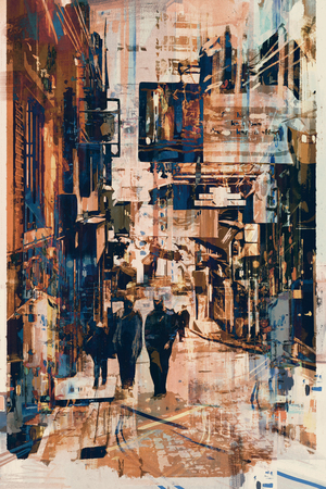 alley: abstract art of people walking at alley,illustration Stock Photo