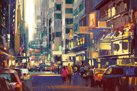 cityscape: colorful painting of people walking on city street,cityscape illustration