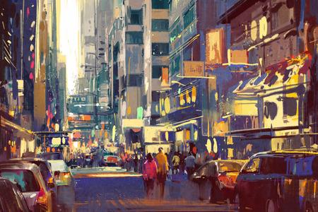 pittura colorata di persone che camminano sulla strada cittadina, illustrazione paesaggio urbano