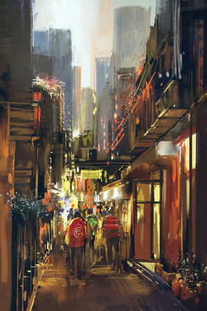alley: people in alleyway,illustration painting
