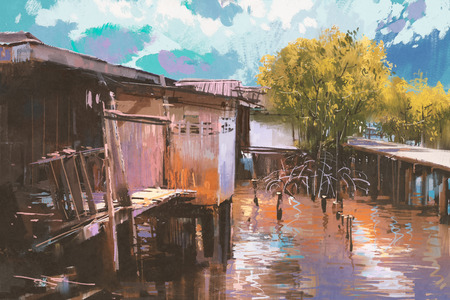 fishing village: old fishing village,oil painting style