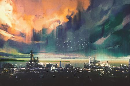 landscape digital painting of sci-fi city 스톡 콘텐츠