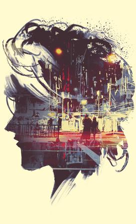 레이디 초상화 실루엣과 몇 밤 도시에서 산책하는 이중 노출 개념의 그림