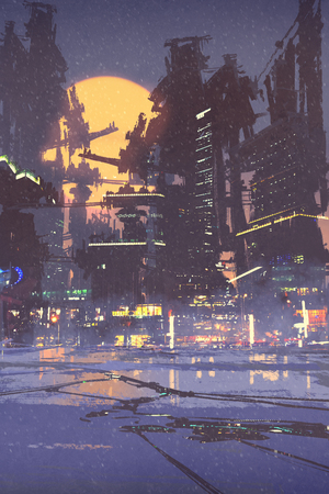 futuristic city: illustration painting of sci-fi city Stock Photo