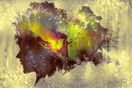 숲에서 아가씨 초상화 실루엣과 여자와 이중 노출 개념의 그림 스톡 콘텐츠