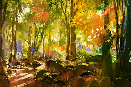 landschap: helder bos, prachtige natuur in de lente, illustratie painting