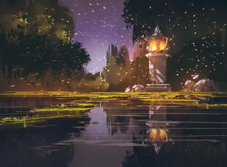 Paysage de nuit avec la lanterne de pierre, illustration peinture Banque d'images - 55485180