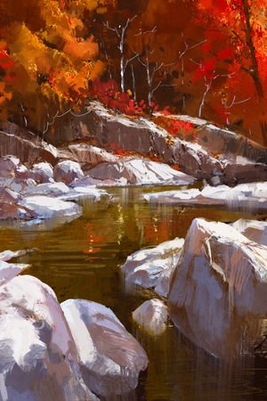 creek: river lines with stones in autumn forest,illustration painting