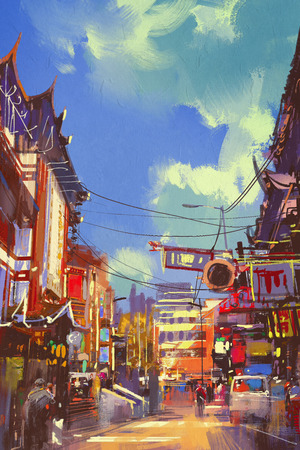 paiting: illustration paiting of shopping street with ancient buildings Stock Photo