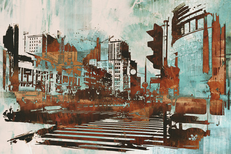 grunge brush: urban cityscape with abstract grunge,illustration painting Stock Photo