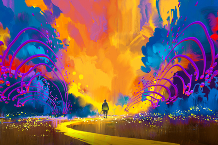 man walking to abstract colorful landscape,illustration painting Stock Photo