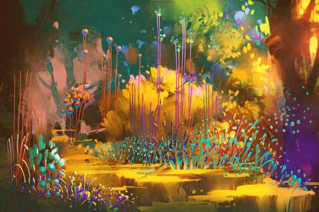 fantasia: fantasy floresta com plantas e flores coloridas, ilustração pintura Banco de Imagens