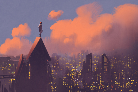 roof: man watching over the city,illustration painting