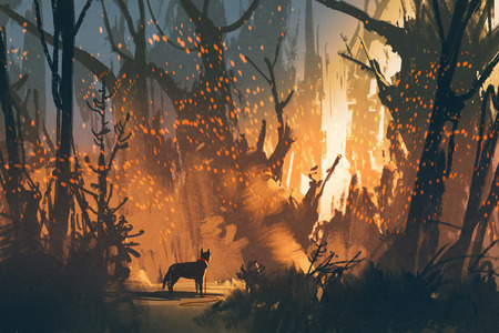 lost: lost dog in the forest with mystic light,illustration painting