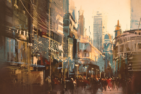 personas en la calle: Pintura del ejemplo de la calle de la ciudad, estilo de la vendimia