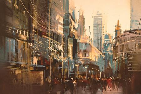 Illustration painting of city street,vintage style Stock Photo