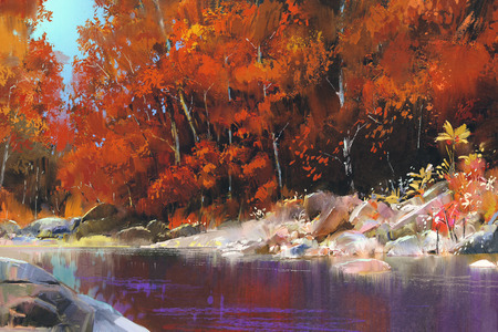 river in the autumn forest,landscape painting Foto de archivo