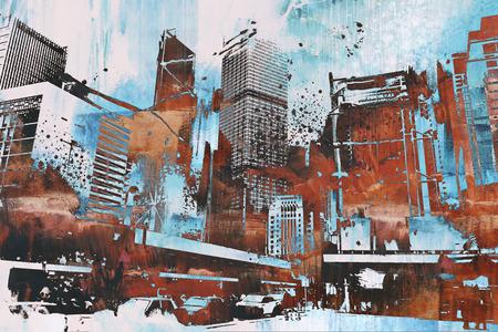 抽象的なグランジ、絵画の図と超高層ビル