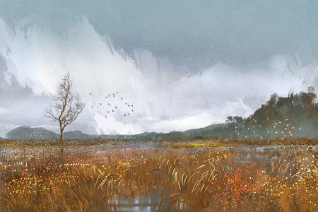 campo de flores: la pintura de paisaje con campos y prados, el tiempo lluvioso, estado de ánimo triste Foto de archivo
