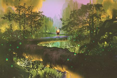 treetop 흔적, 판타지 숲, 그림 그림에 서있는 사람 스톡 콘텐츠
