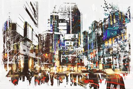 抽象的なグランジ絵画、イラストが付いている都市で歩く人
