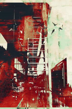 赤のグランジ テクスチャ、イラスト、デジタル アートの抽象的なアーキテクチャ