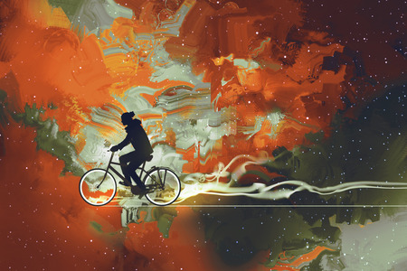 cyclist silhouette: Silhouettes of man on bicycle in universe filled,illustration art