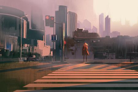 eenzame vrouw die zich op stedelijke voetgangersoversteekplaats, illustration painting Stockfoto