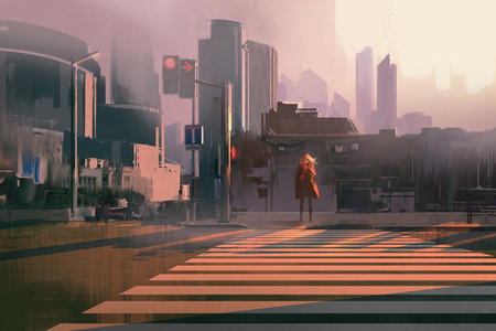 lonely woman standing on urban pedestrian crossing,illustration painting