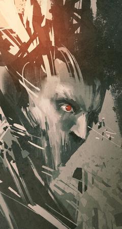 Mann Gesicht mit modernen Grunge, Sci-Fi-Stil, Abbildung