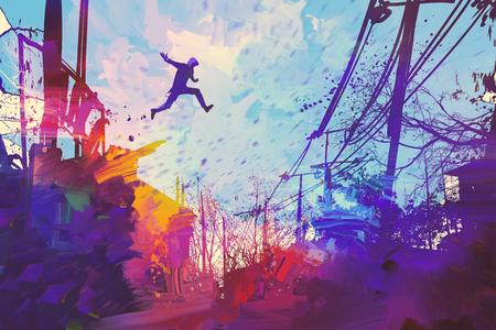 抽象的なグランジ、絵画の図が付いている都市の屋根の上をジャンプする男