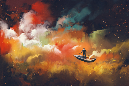 man on a boat in the outer space with colorful cloud,illustration Standard-Bild