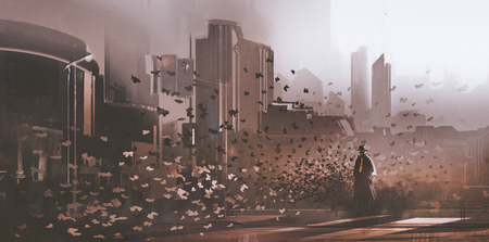 city: mystery man with crowd of butterflies in city,illustration painting