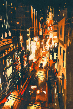 city lights: night scene of a street in city,illustration painting Stock Photo