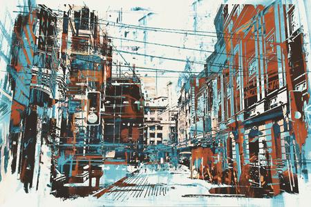 그림 grunge 텍스처와 도시 거리의 그림