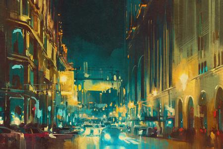 pintura abstracta: luz colorida de la ciudad con edificios históricos, pintura ilustración Foto de archivo