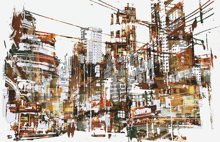 abstract paintings: illustration painting of urban city with grunge texture